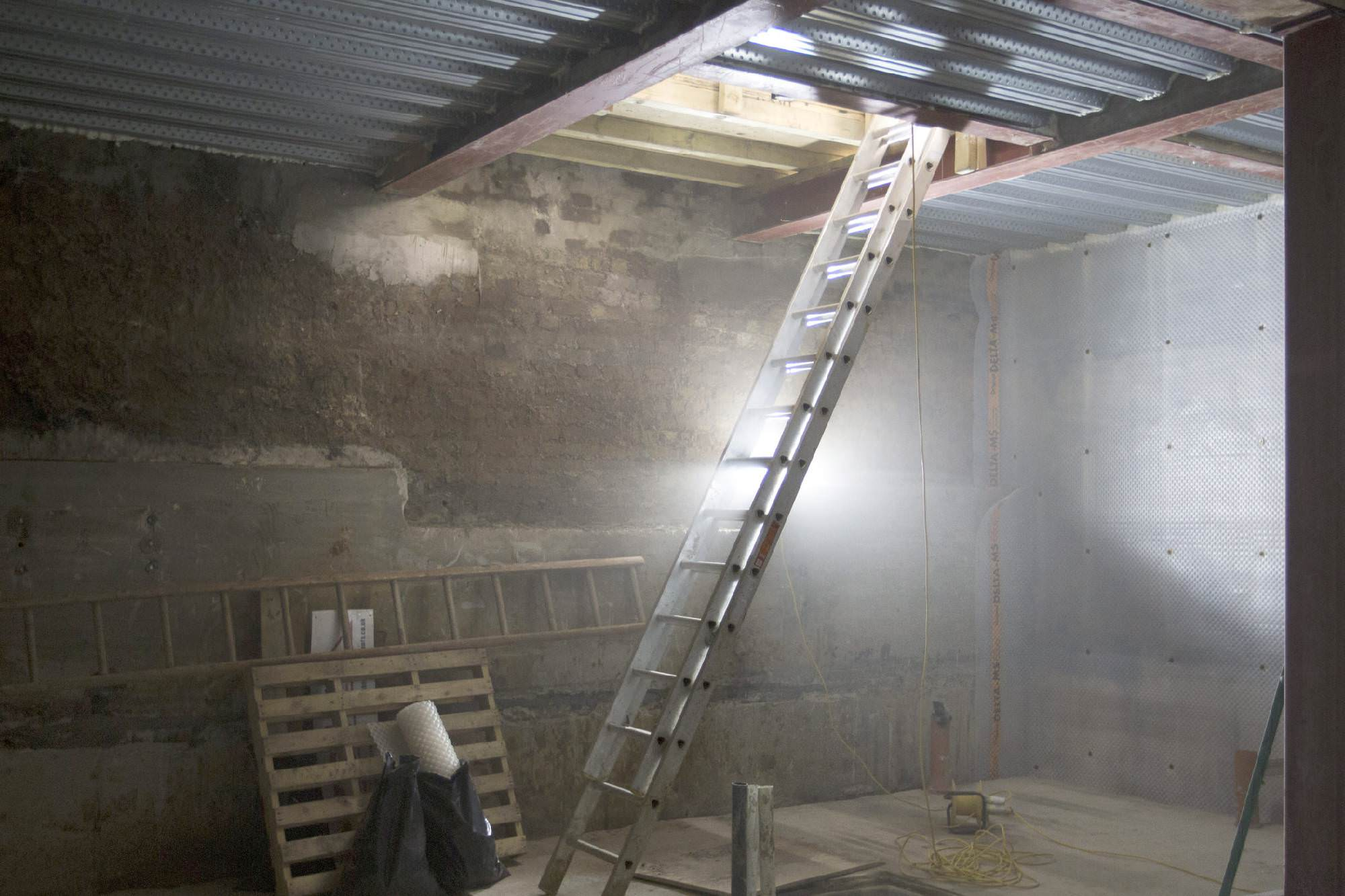 Ladder in building site room